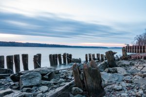 A photo of the old wood pilings along the shore of the Hudson River at Charles Rider Park during sunrise.