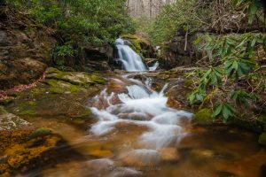 A long exposure photography of the Blue Hole waterfall in Cartery County, TN.