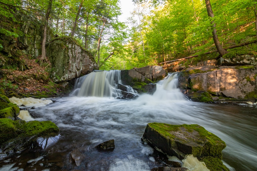 A 1-second long exposure photograph of the Middle Falls at John Burroughs Nature Sanctuary in Highland, NY.
