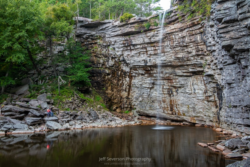 A photo of the nearly 60 foot tall Awosting Falls at Minnewaska State Park Preserve in Kerhonkson, NY.