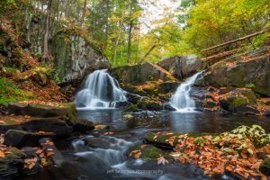 A photograph of a waterfall along Black Creek on an Autumn morning in the Town of Esopus, NY.