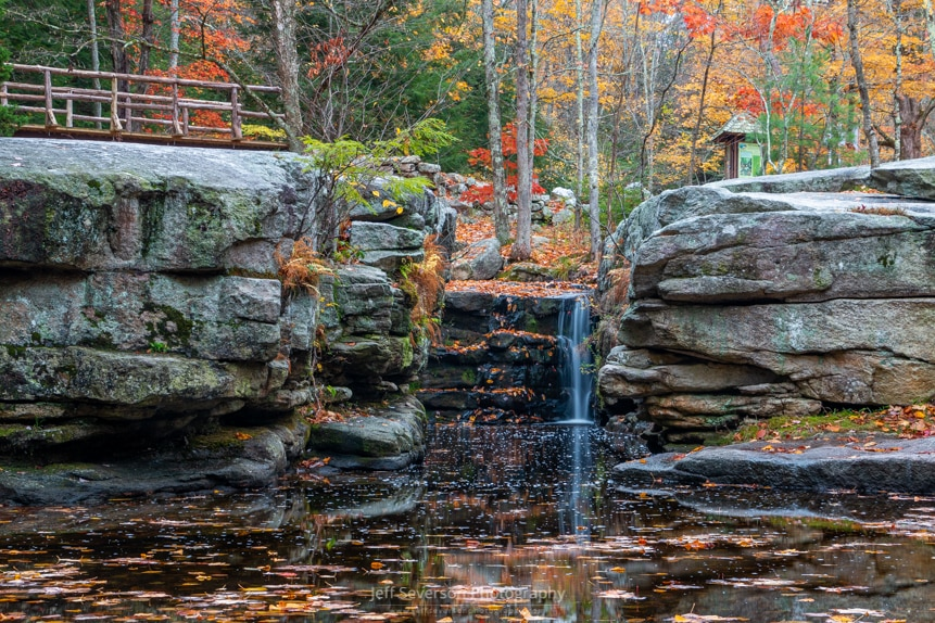A photo of the waterfall known as Split Rock at Mohonk Preserve in Gardiner, NY on an October morning.