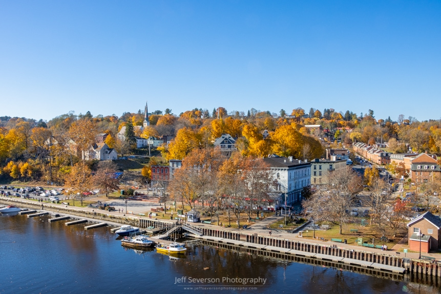 A landscape photo from atop the John T. Loughran Bridge of the Kingston-Rondout Waterfront District on an autumn afternoon.