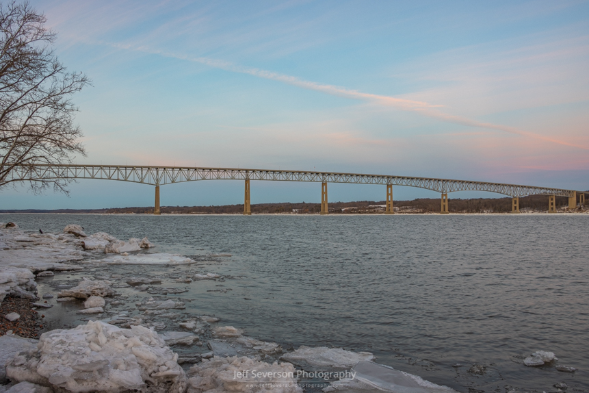 A picture of twilight over the Kingston-Rhinecliff Bridge and the Hudson River on a February evening.
