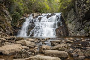 A photograph of Laurel Falls, a 40 foot high and 50 foot wide waterfall located off the Appalachian Trail in Hampton, TN.
