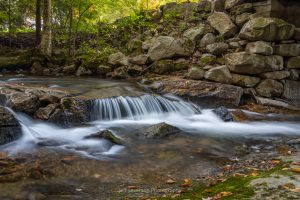 A photo of a mini waterfall on the Coxing Kill on an October morning at the Mohonk Preserve in Gardiner, NY.